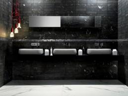 Roma / Grafite + Raku Listello + Statuario / 7,5x30 / 6x25 / 75x150