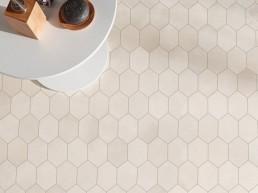 Tool / white / 24x26,6 / Mosaic hexagon / natural rectified