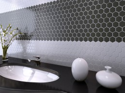 Hexagon / Black / 20x20