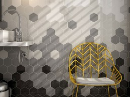 Scale / Hexagon White / Light Grey / Dark Grey Black / 12,4x10,7