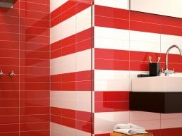 Liso Flat / Rojo + Blanco Brillo / 10x40